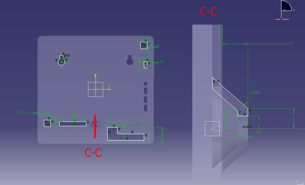 Элементы корпуса охранной сигнализации. Размеры