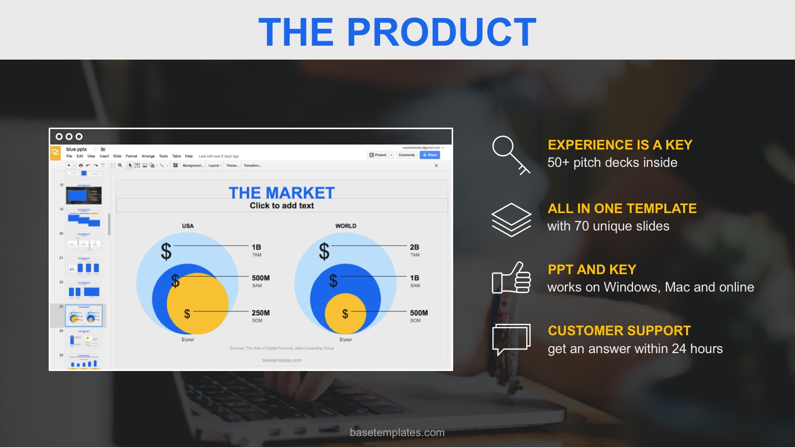 product slide pitch deck template