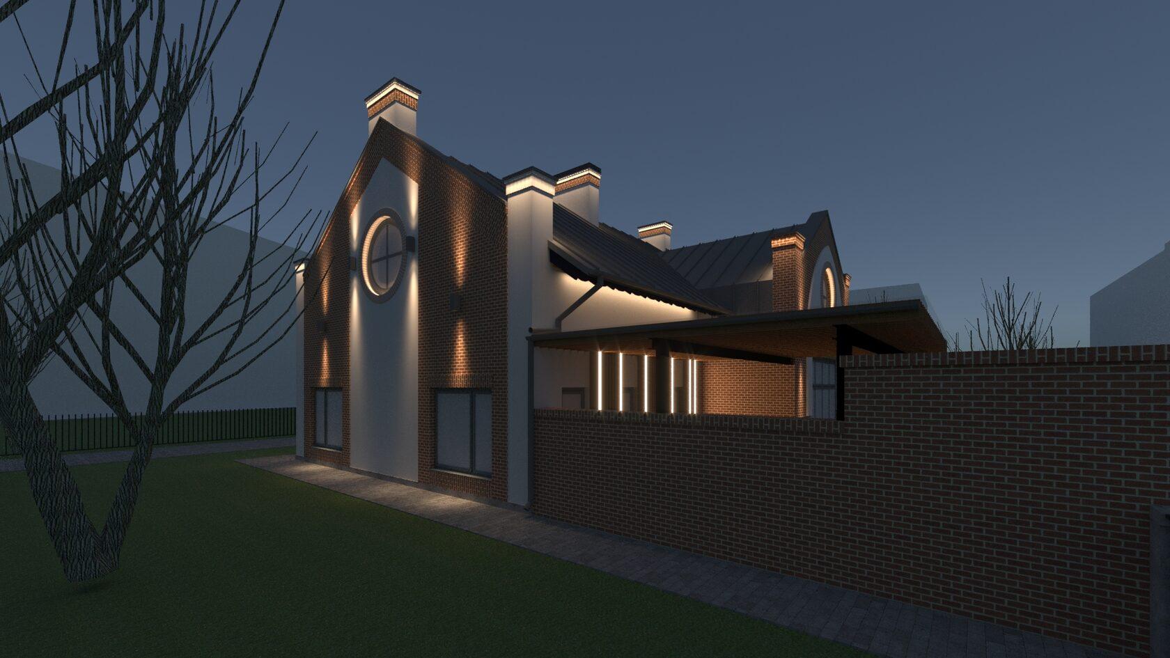 Итоговая световая композиция на фасаде