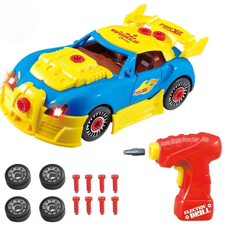 Развивающий детский конструктор с дрелью LampStory спортивный автомобиль