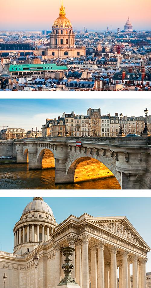 Панорама утреннего Парижа с Пантеоном