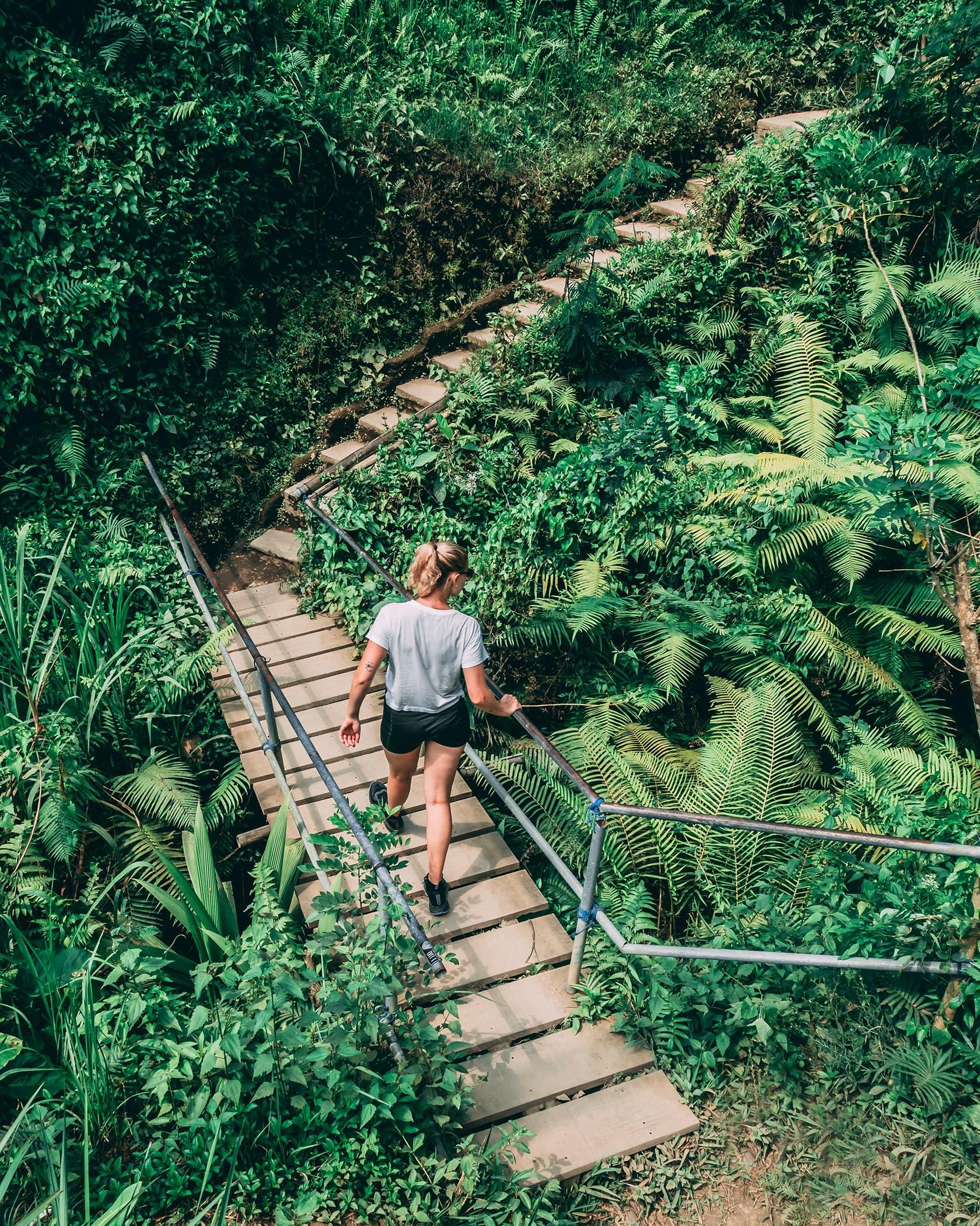 Foto van een persoon lopend over een brug in de natuur uit fotografie collectie mensen van Simon Wijers