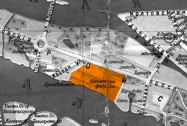 Историческая карта расположение канатной фабрики в Питере, жк familia,  росстройинвест