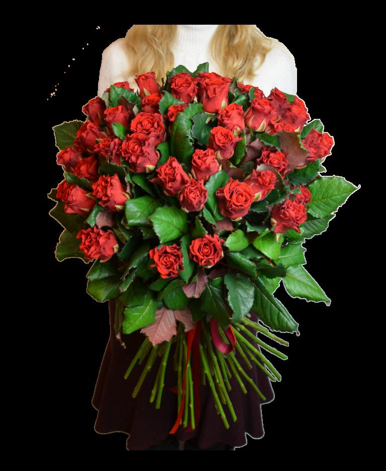 Букеты из 55 роз, цветов саратов