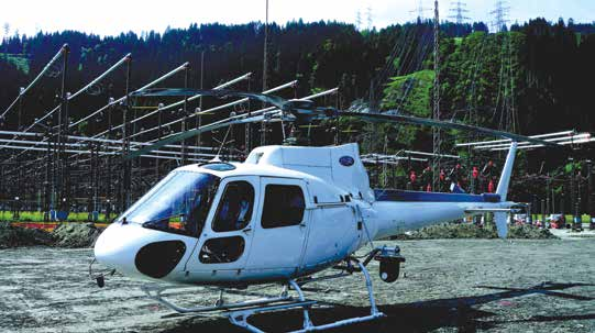 Eurocopter AS350 during stopover at substation.
