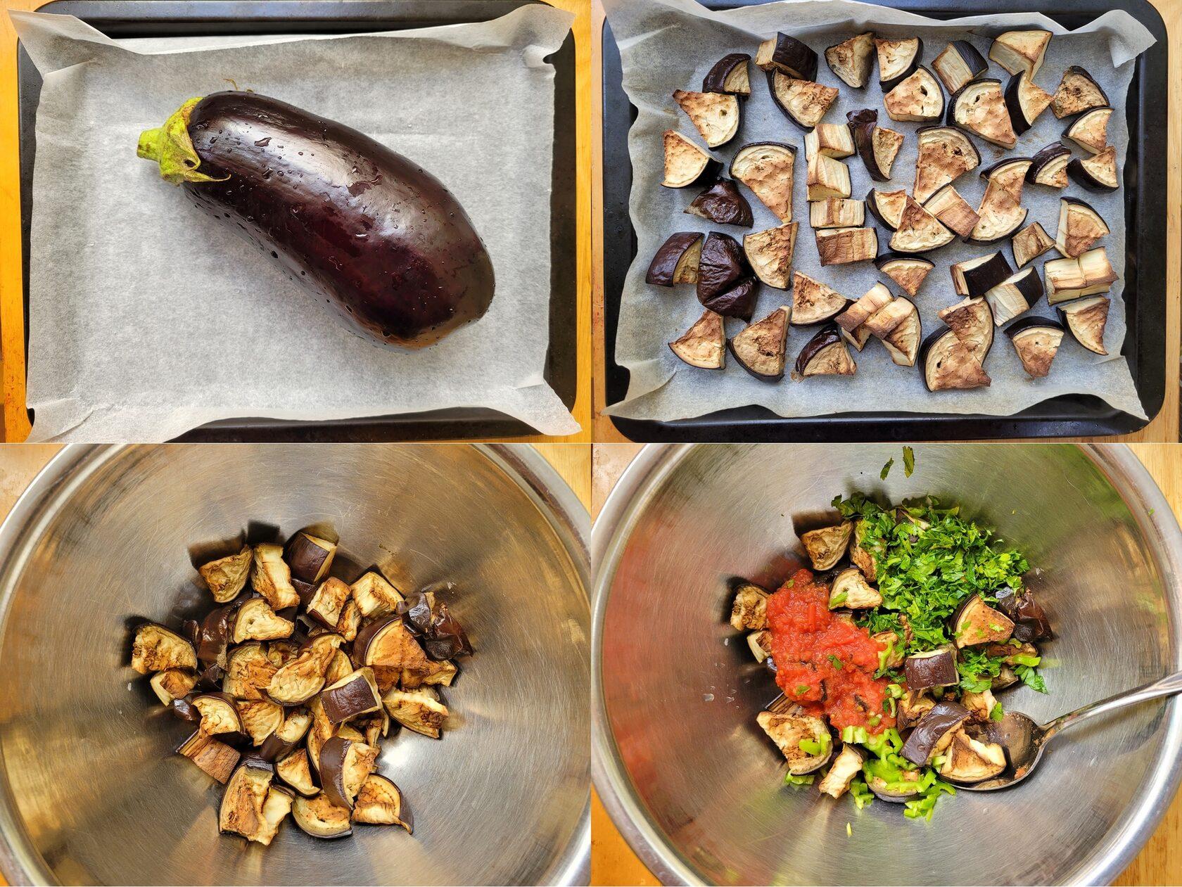 Салат из баклажанов в духовке с томатным пюре и зеленью. Фото рецепт.