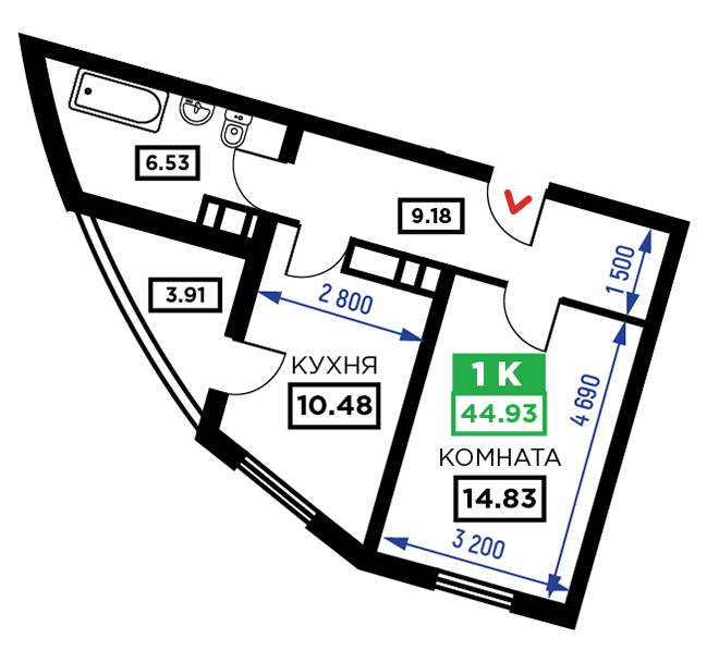 1 комнатная квартира в жк фонтаны 44,93 кв.м.