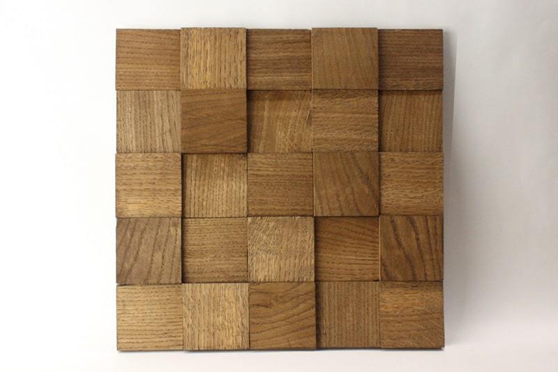 Деревянная 3D мозаика шлифованная из дуба цвет орех