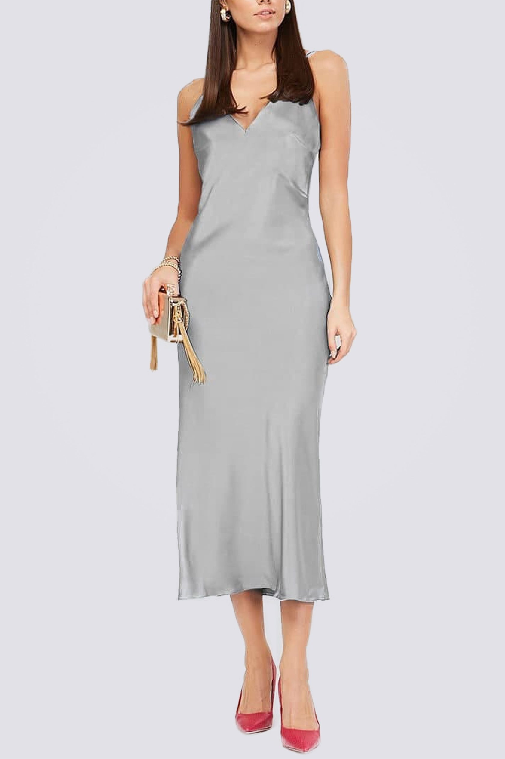 Платье комбинация миди ES.design серое EGOStyle