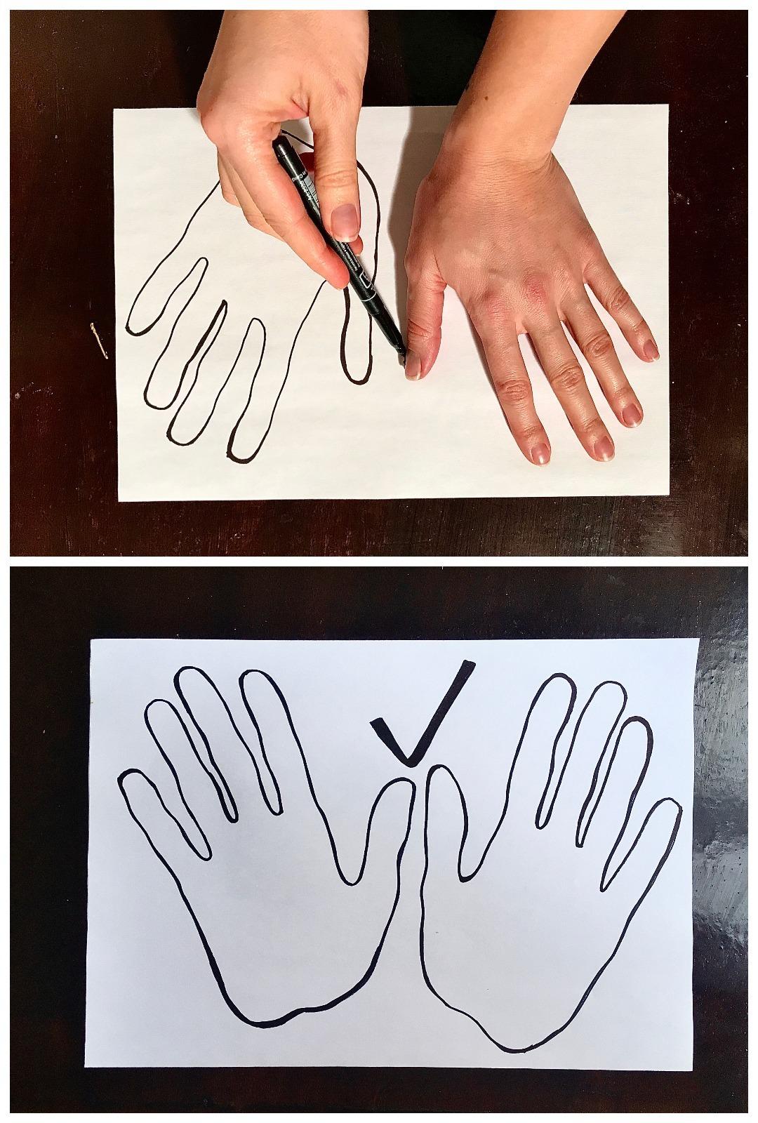открытка обводим руку шелковой ткани