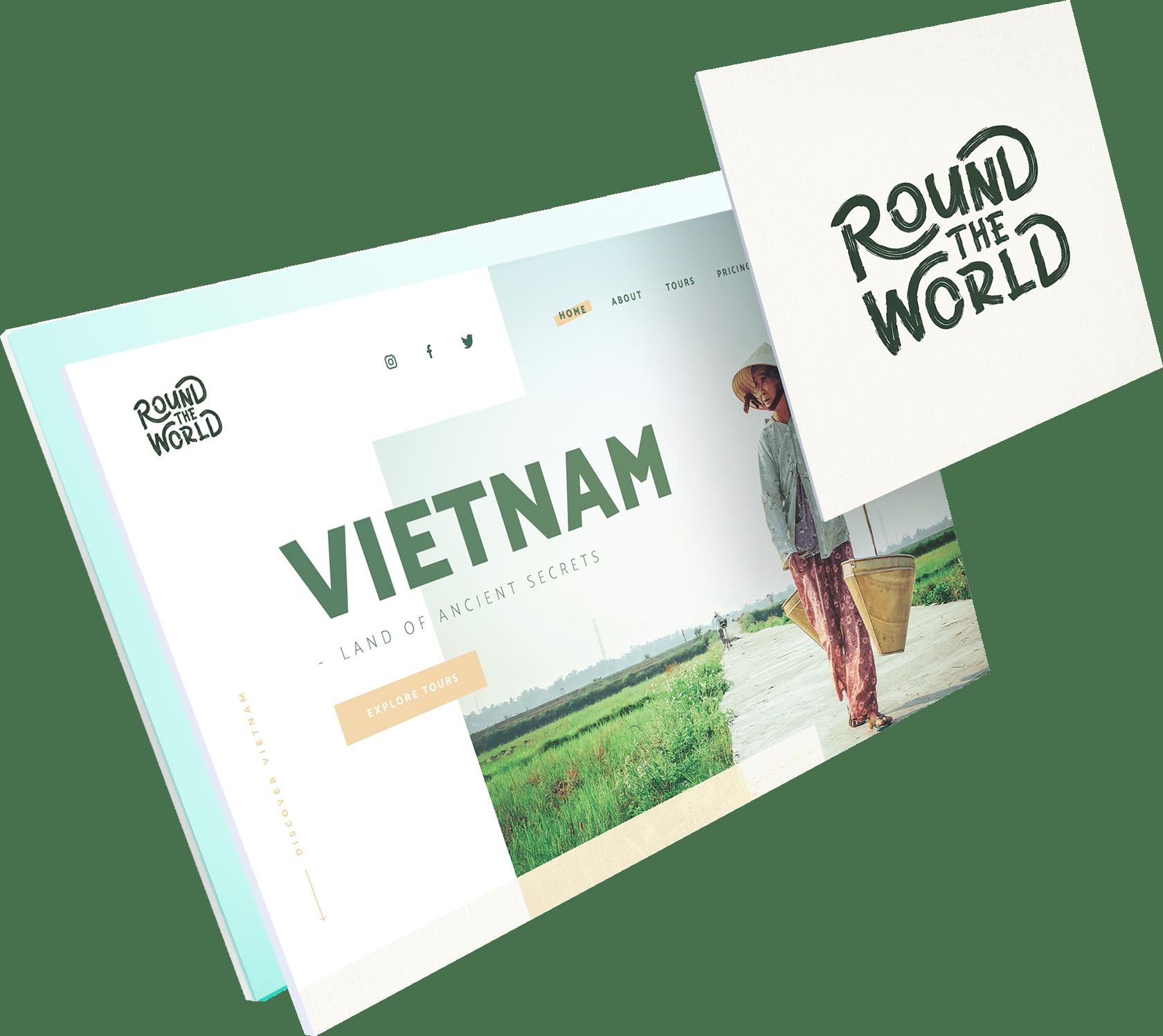 Website en logo voorbeeld van het project: Round The World
