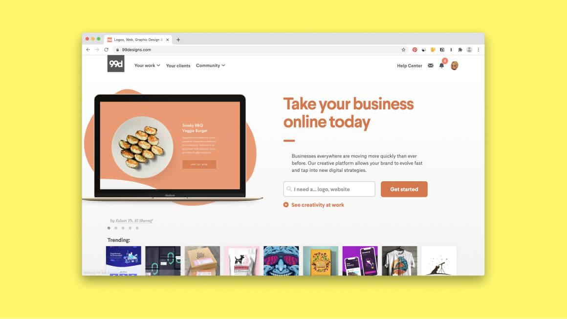 Сайт для работы иллюстратора – 99designs