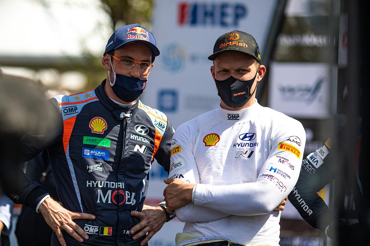 Тьерри Невилль и Отт Тянак (Hyundai Motorsport), ралли Хорватия 2021