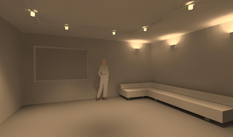 Вид 1. Освещение в гостиной