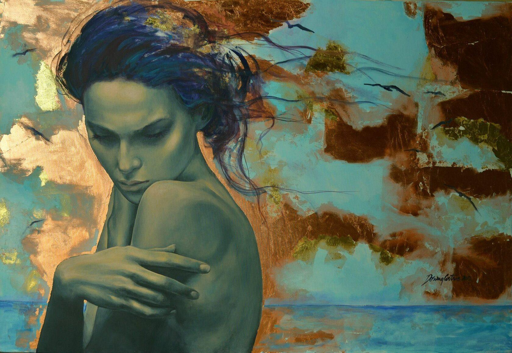 dipinto di busto di donna nudo al mare che si abbraccia