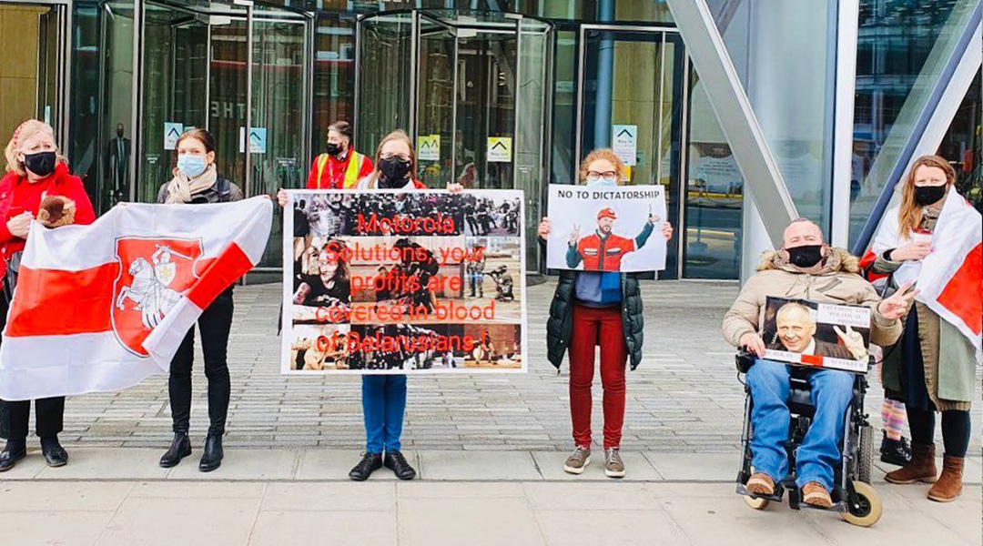 Belarusians of Great Britain on a picket at the Norwegian Embassy in London (photo: