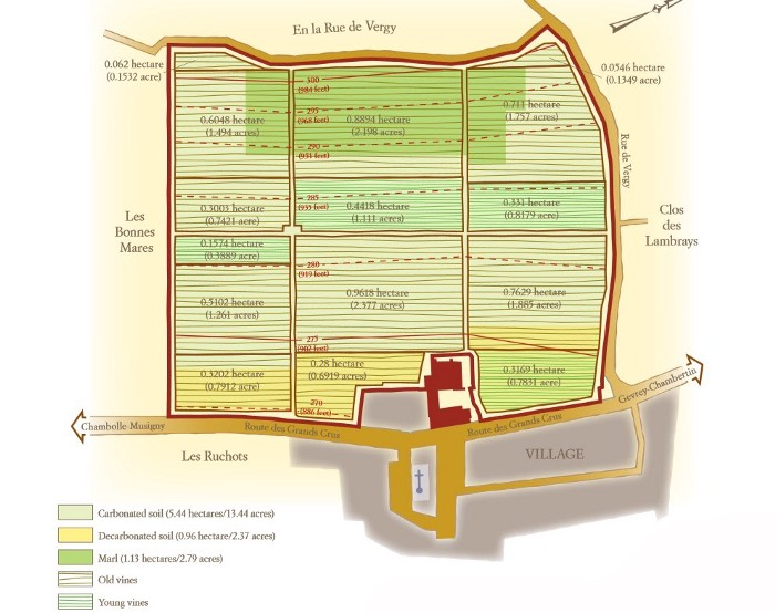 Clos de Tart Grand Cru map and soil types