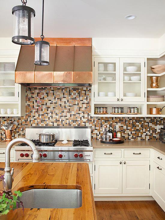 Мозаичный стиль оформлении кухни.