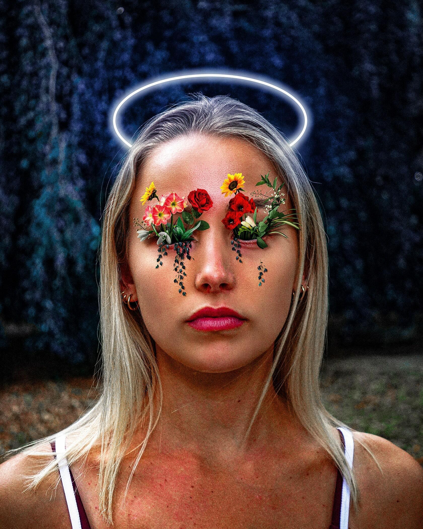 Digital art project abstract portraits ontwerp Flowers