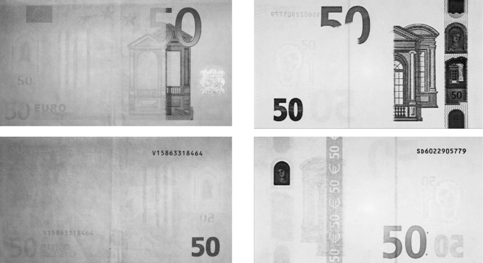 ИК метки на 50 Евро первой и второй серии