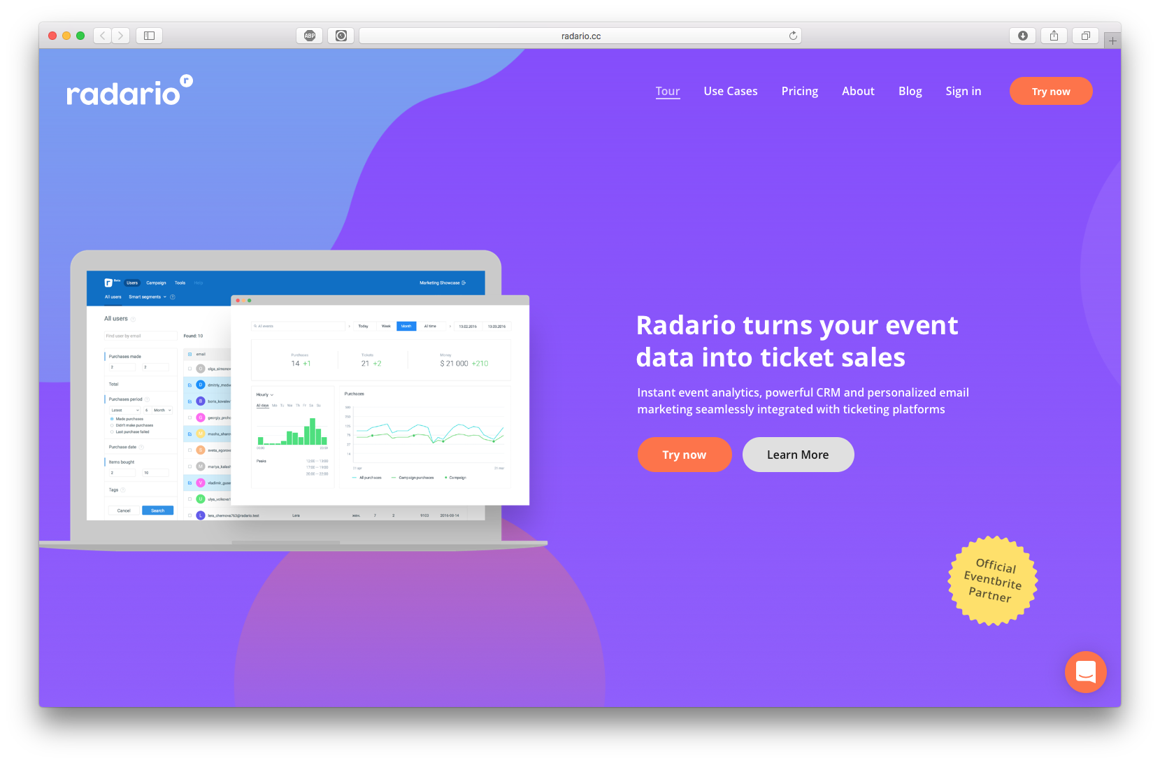 Radario Marketing Platform - helps you understand your attendees better, improve attendee engagement or increase you ticket sales