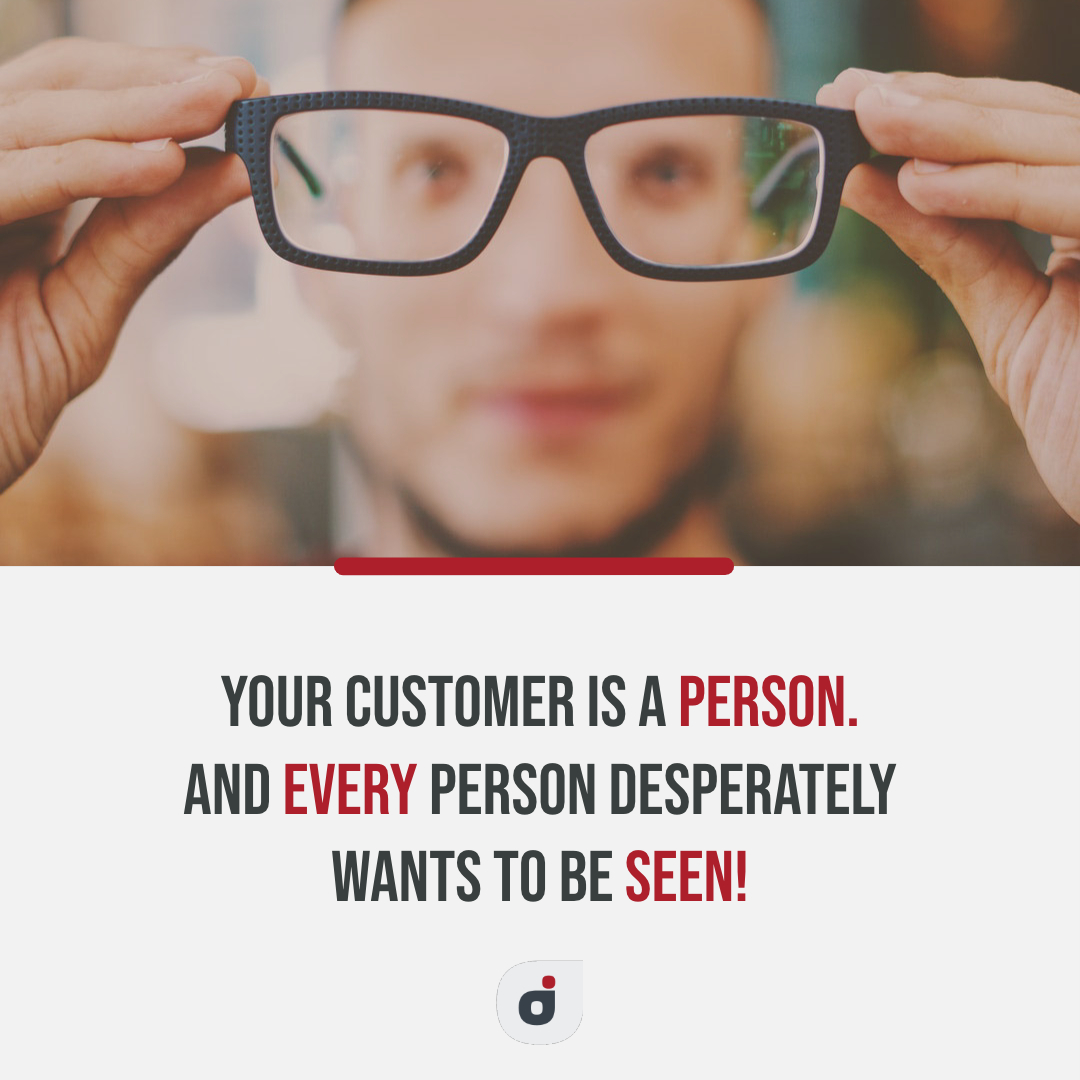 marketing plan tip quote card stating every customer wants to be seen first