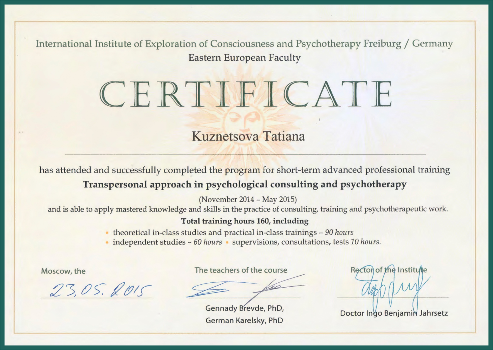 Transpersonal approach in psychological consulting and psychotherapy