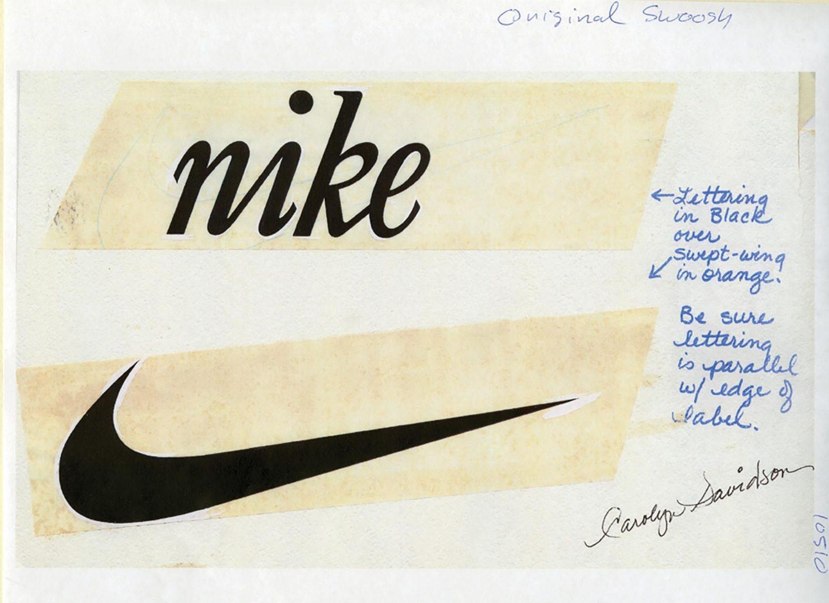 Первый логотип «Найк», с подписью дизайнера