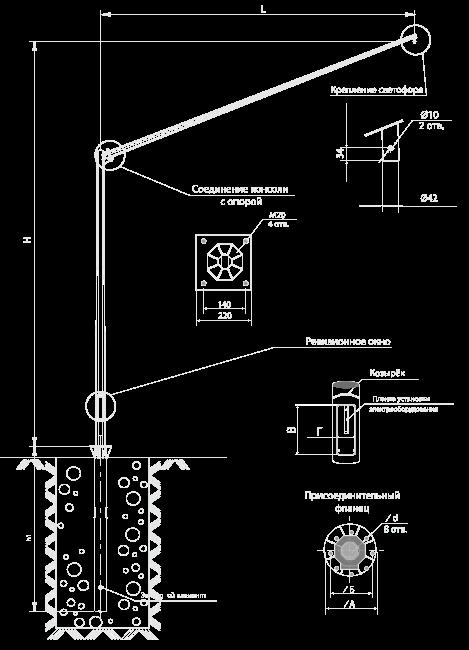 Опоры для светосигнального оборудования. Серия СС