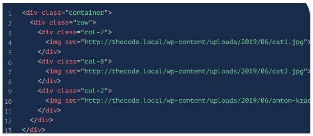 Для этого помещаем код в новый контейнер. Это выглядит так: