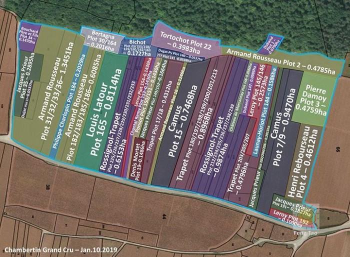 Chambertin Grand Cru map and vineyard owners