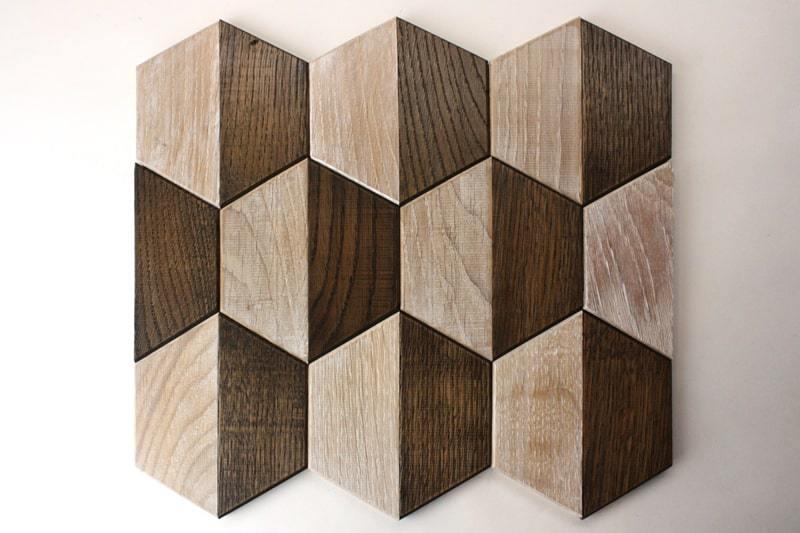 Деревянная мозаика с 3D эффектом, серия «Гексо», размер чипа 120×139 мм. цвет: венге и беленый