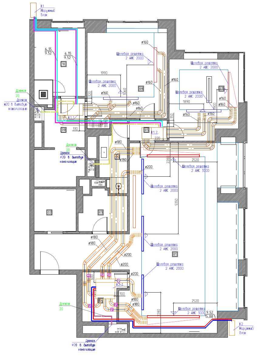 Проект системы кондиционирования квартиры на базе канальных кондиционеров