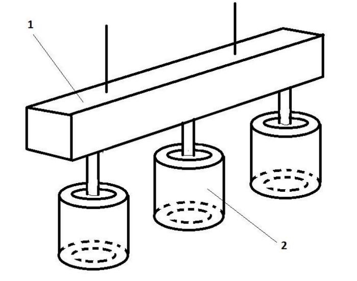 Примерная схема светильника. 1 — профиль, 2 — светодиодные модули