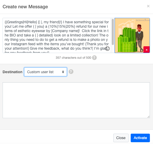 create new message with Auto DM tool