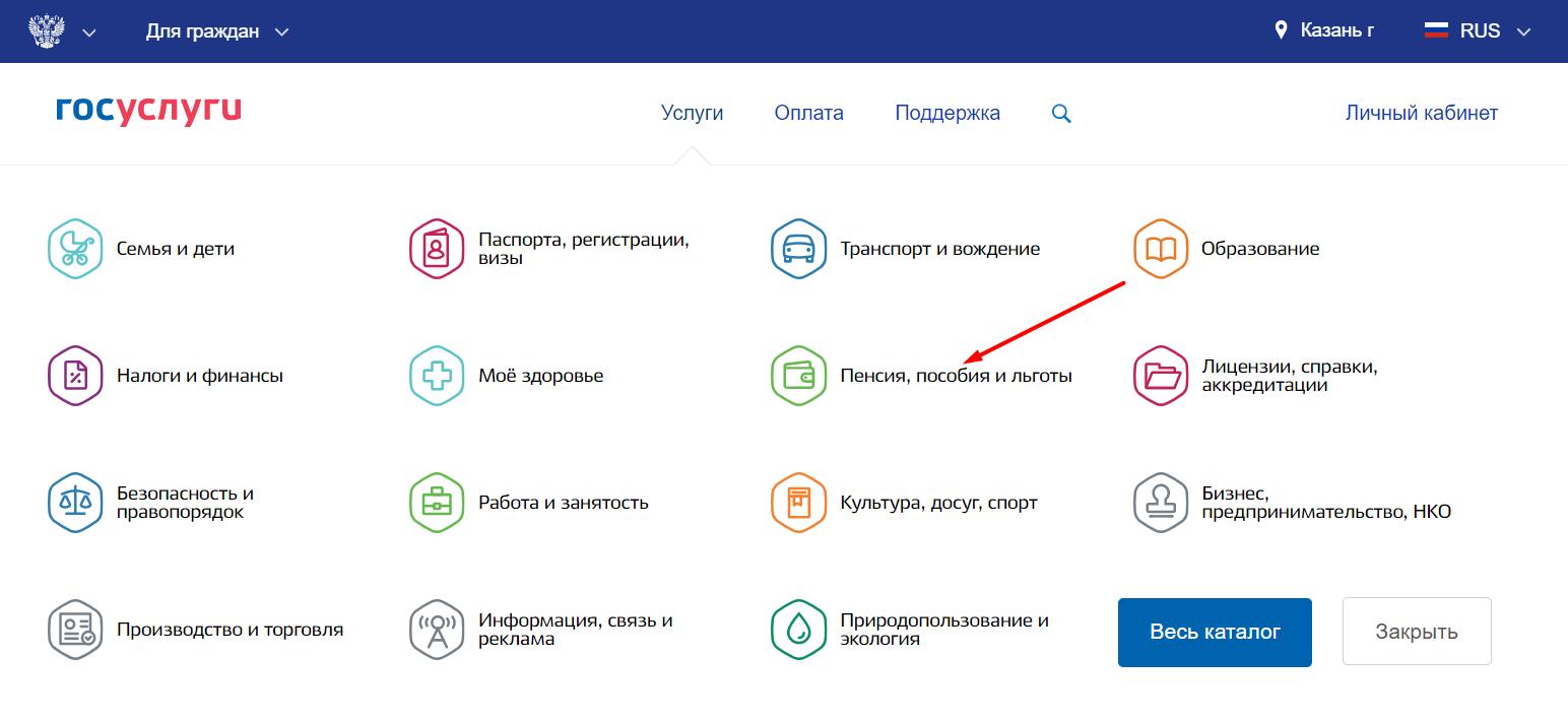 Интерфейс сайта госуслуги