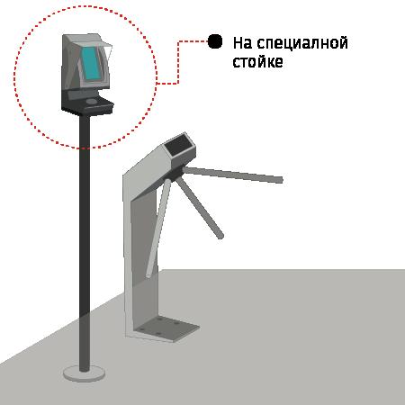 Вариант монтажа валидатора на стойке
