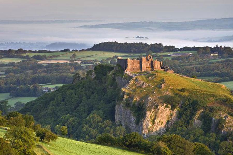Carreg Cennen castle on the hill