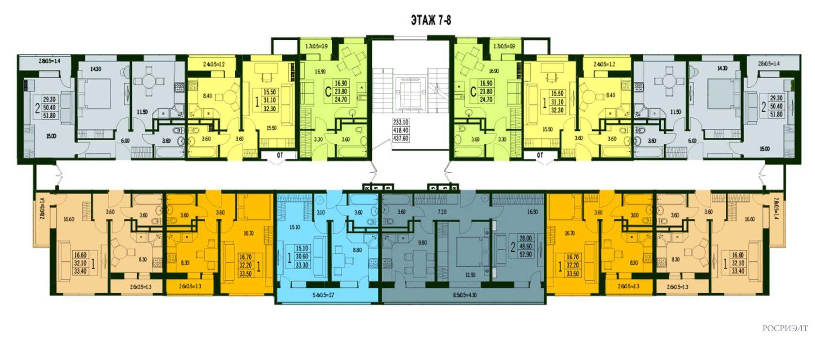 планировки 7-8 этаж ЖК Марсель 2 в Краснодаре