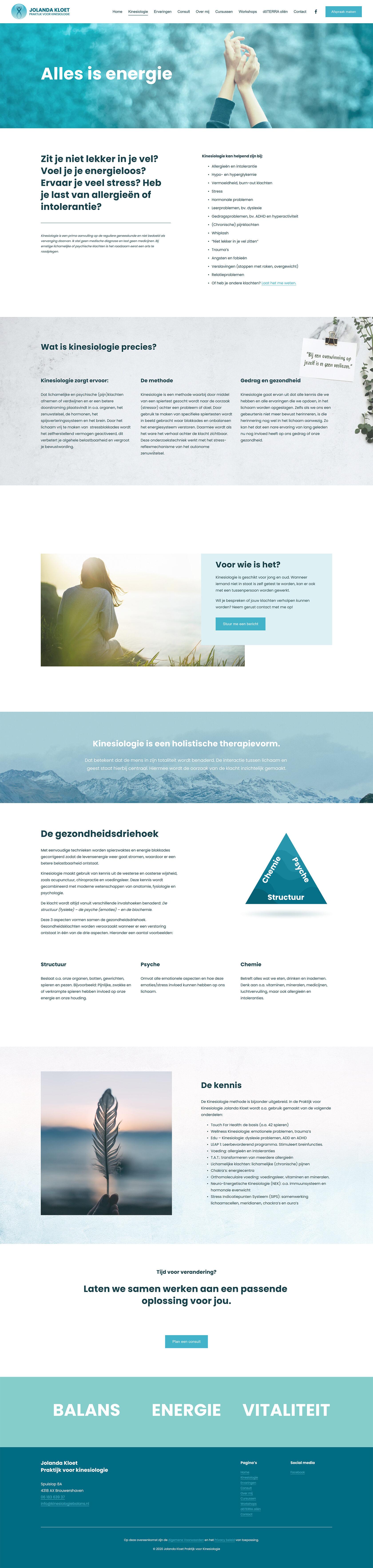 Website ontwerp Kinesiologie pagina Jolanda Kloet | Praktijk voor kinesiologie