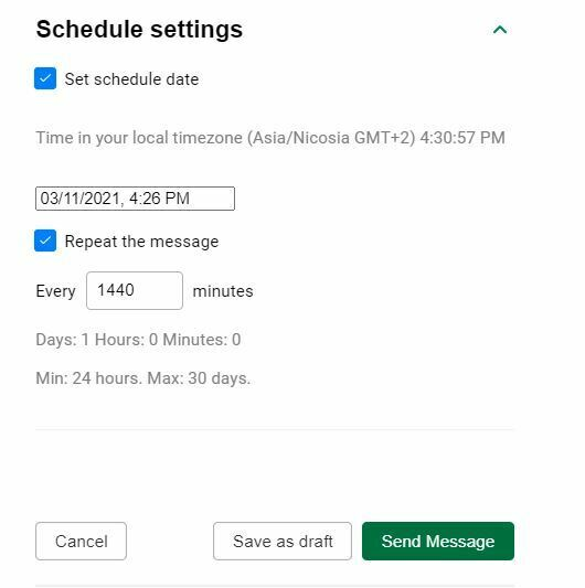 Schedule Settings for web push