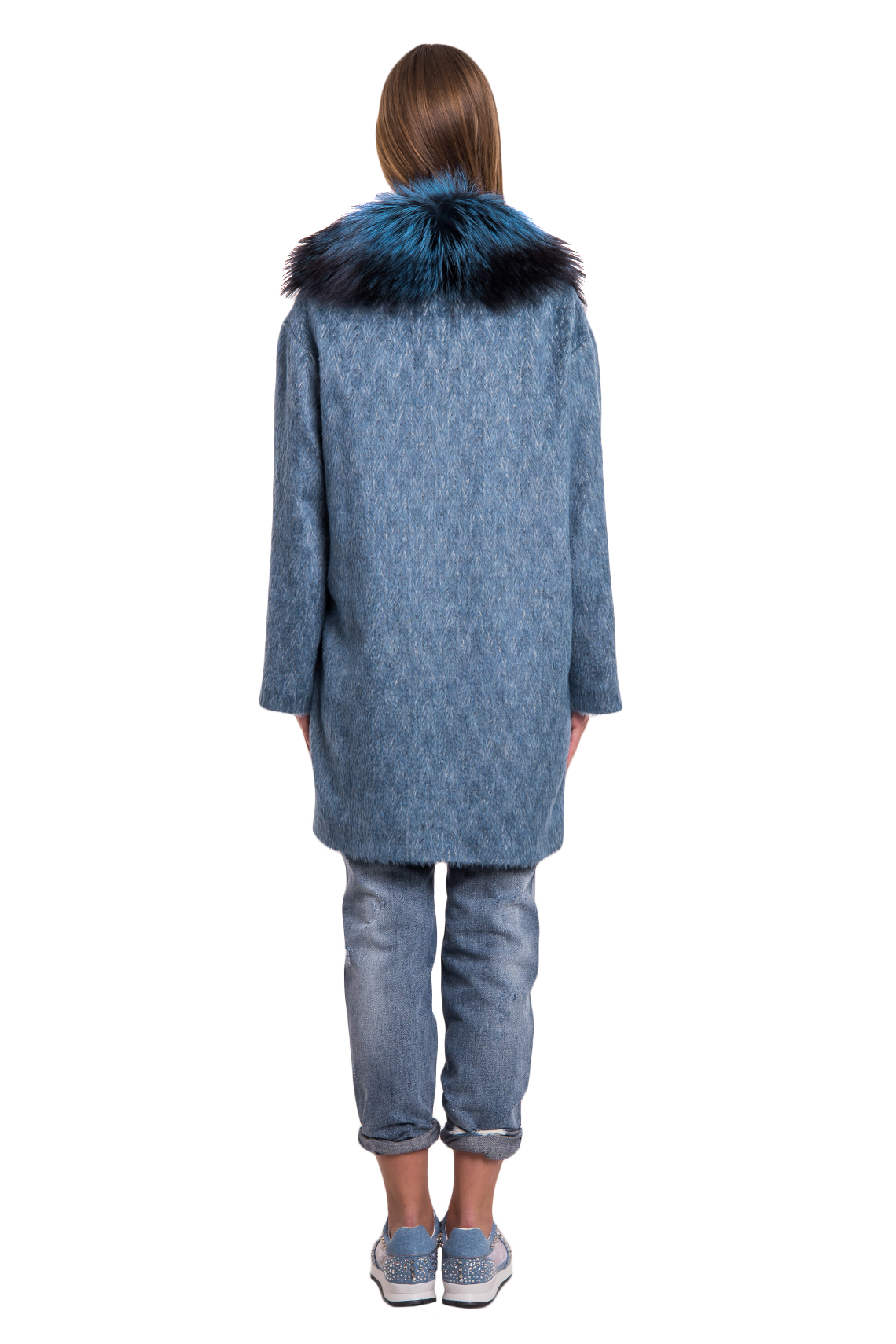 Женское итальянское пальто с мехом из кашемира Loro Piana