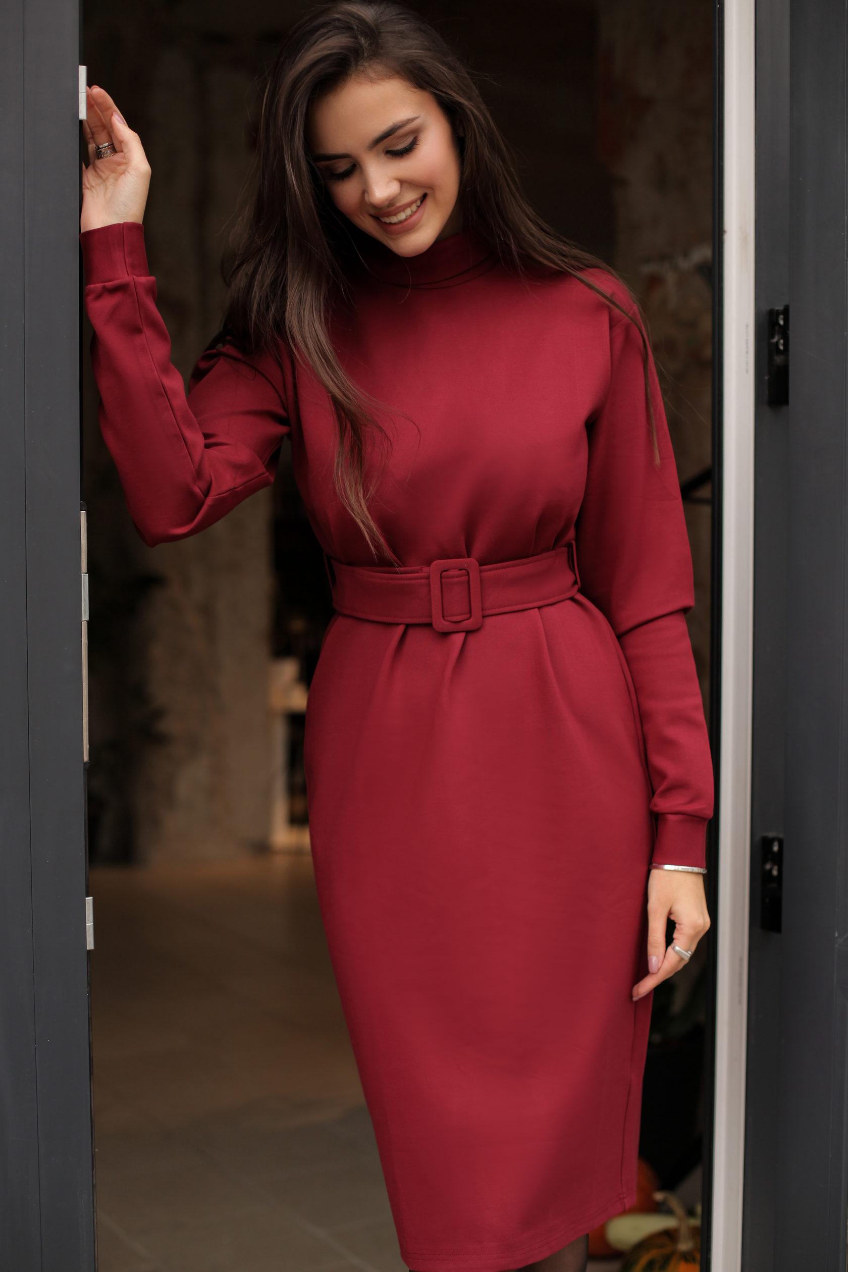 d942636cc56 Универсальное платье из вискозного трикотажа с ремнем