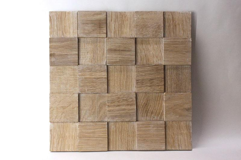Деревянная 3D мозаика шлифованная из дуба цвет беленый