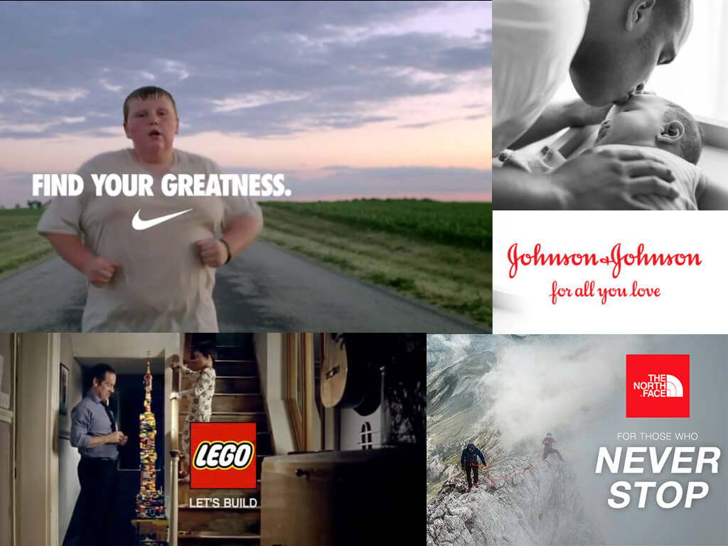Great branding examples from Nike, North Face, Johnson & Johnson