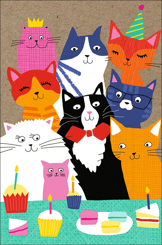 Благодарю, открытка много котов