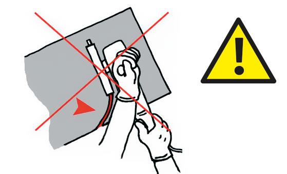 Не закручивайте инструмент во время резки.