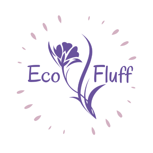 Company logo image with a purple iris flower placed between words Eco Fluff