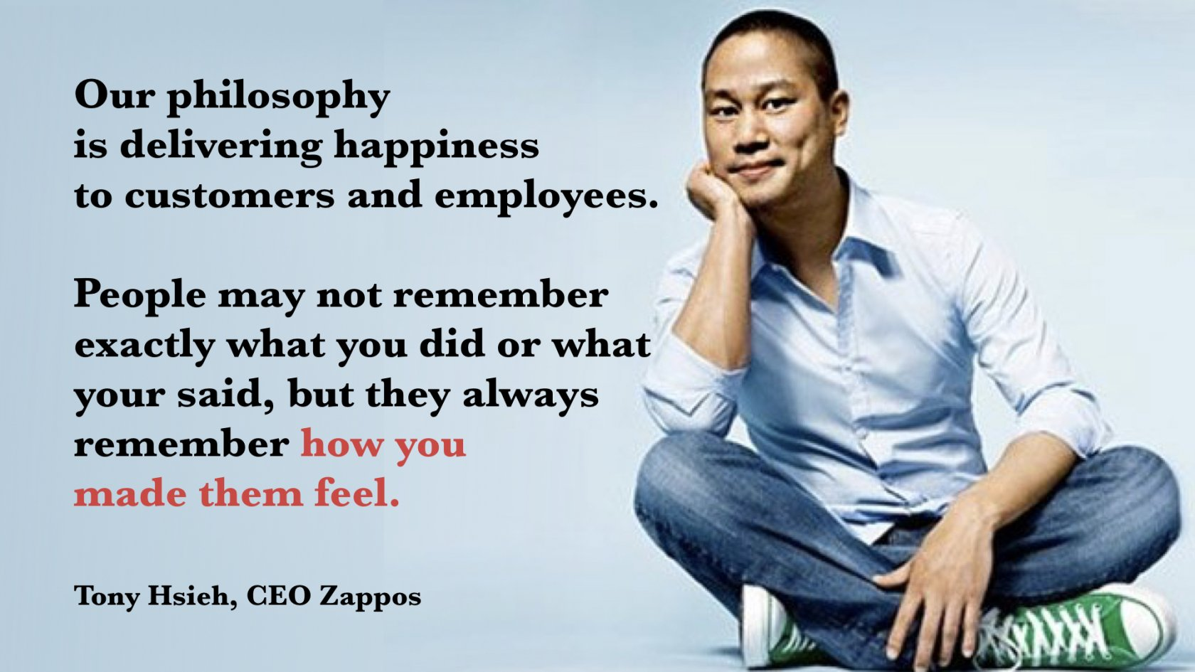 delivering happiness About the author in 1999, at the age of 24, tony hsieh sold linkexchange, the company delivering happiness: a path to profits, passion, and purpose.