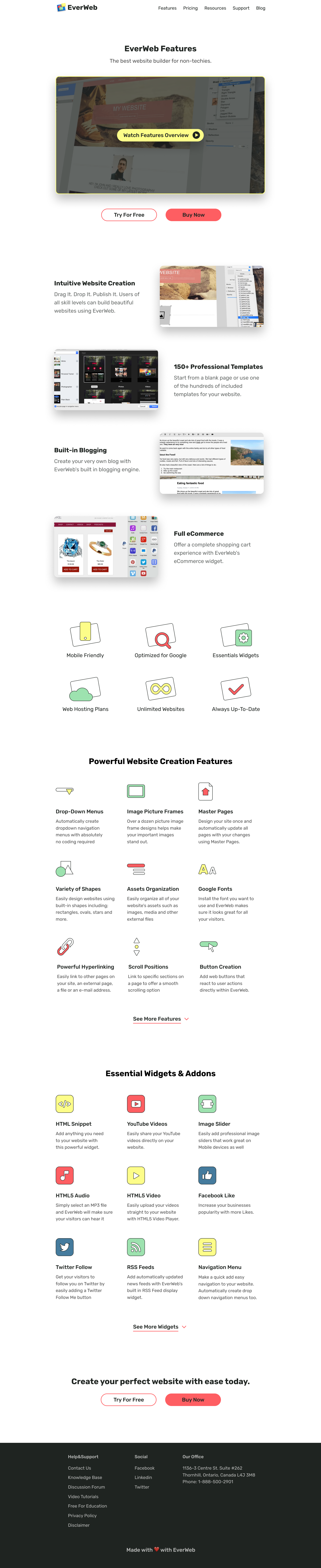 features page UI website redesign case study, landing page